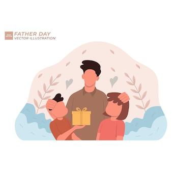 Dia dos pais família feliz abraçando o pai e rindo no feriado