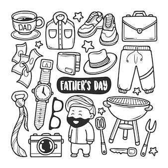 Dia dos pais mão desenhada doodle para colorir
