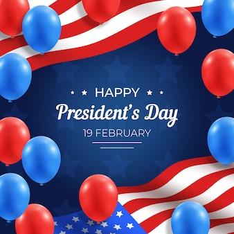 Dia dos presidentes com balões realistas