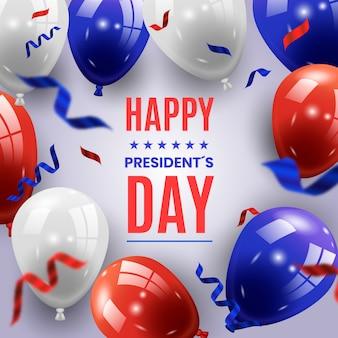Dia dos presidentes com conceito realista de balões