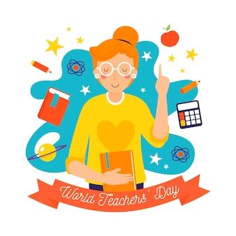 Dia dos professores de design desenhado à mão