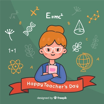 Dia dos professores do mundo desenhado a mão