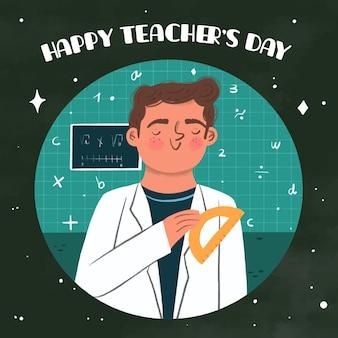 Dia dos professores estilo desenhado à mão