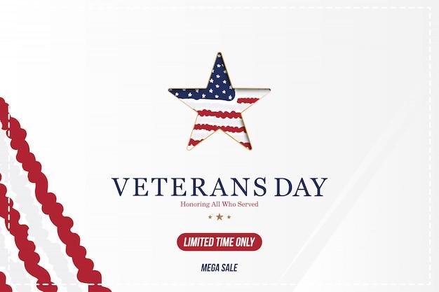 Dia dos veteranos. cartão com bandeira dos eua e estrela no evento de feriado nacional americano de fundo.