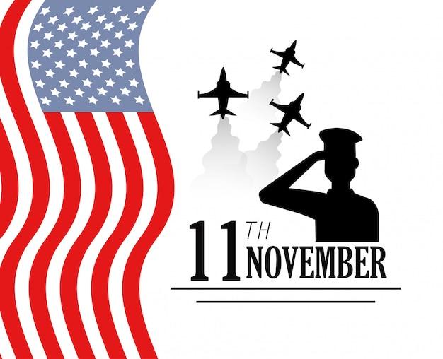 Dia dos veteranos com aviões militares e bandeira
