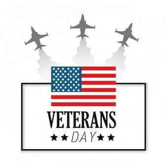 Dia dos veteranos com bandeira e aviões dos estados unidos