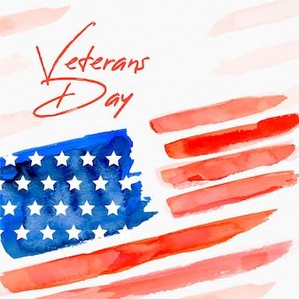 Dia dos veteranos com bandeira em aquarela