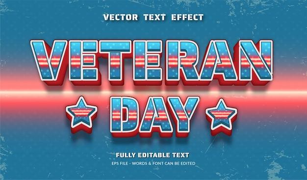 Dia dos veteranos com efeito de texto editável de estilo moderno