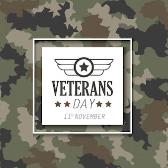 Dia dos veteranos com emblema sobre fundo de pano militar