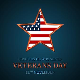 Dia dos veteranos dos eua com estrela na bandeira nacional cores bandeira americana. homenageando todos os que serviram.
