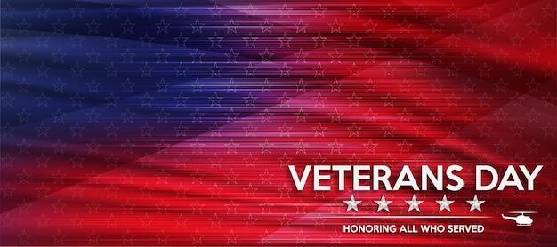 Dia dos veteranos em homenagem a todos os que serviram como pano de fundo do pôster da bandeira dos estados unidos para o dia dos veteranos