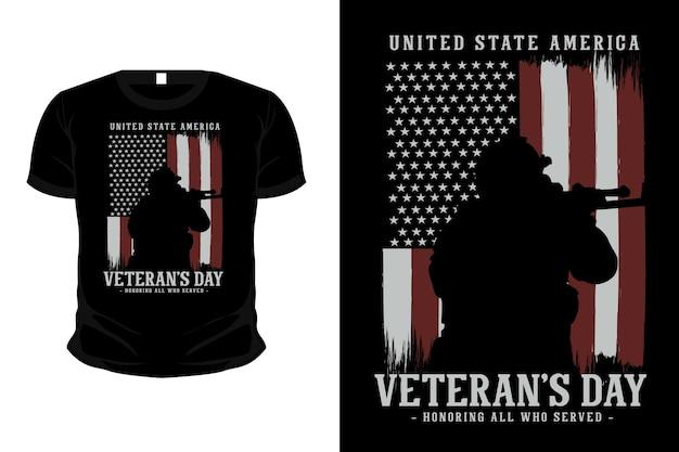 Dia dos veteranos em homenagem a todos os que serviram o design da camisa da maquete da silhueta da mercadoria