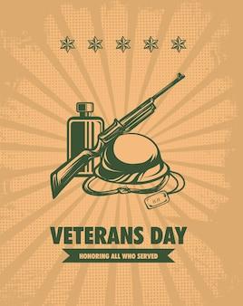Dia dos veteranos modelo retrô vector