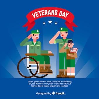 Dia dos veteranos plano com gerações de soldados
