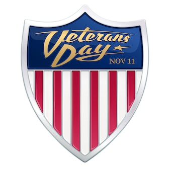 Dia dos veteranos. texto caligráfico no escudo heráldico com listras vermelhas da bandeira americana.