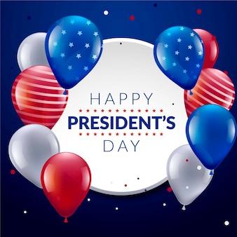 Dia e balões do presidente da américa unida