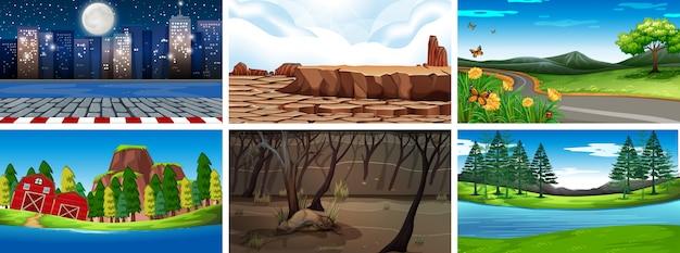 Dia e noite cenas da natureza ou plano de fundo