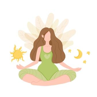 Dia e noite. garota em lótus de ioga pratica meditação.