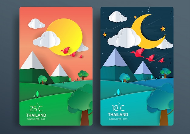 Dia e noite paisagem natural