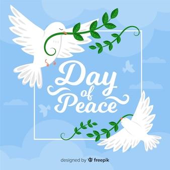 Dia emoldurado da paz citação com pombas
