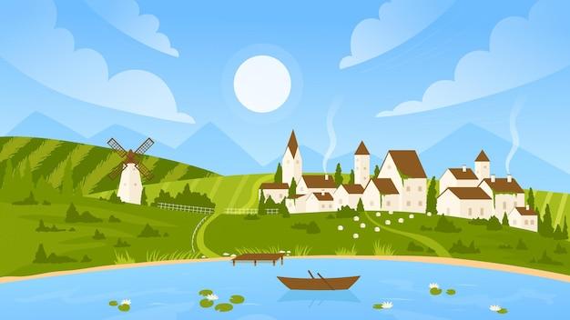 Dia ensolarado de verão paisagem paisagem vila paisagem com casas de fazenda e vento lago