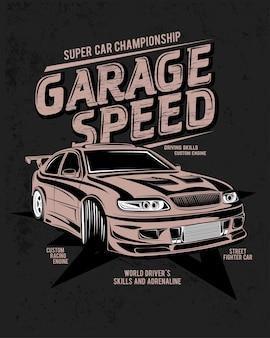 Dia especial, drift green forest league, ilustração de um carro com motor personalizado