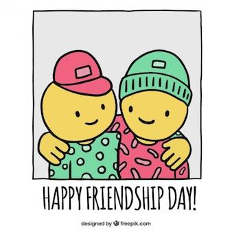 Dia feliz da amizade, desenhado mão
