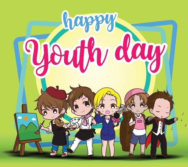 Dia feliz da juventude, crianças no terno do trabalho, conceito de trabalho.