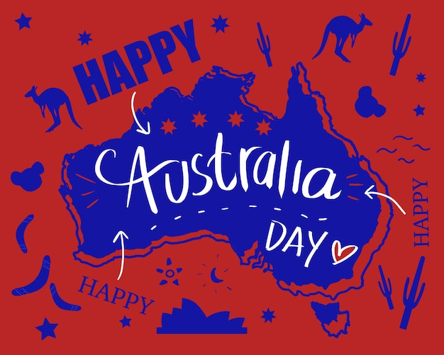 Dia feliz de austrália com mapa e bandeira na arte da ilustração da garatuja. ícone da austrália kangar