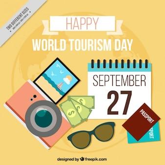 Dia feliz turismo com fundo alaranjado