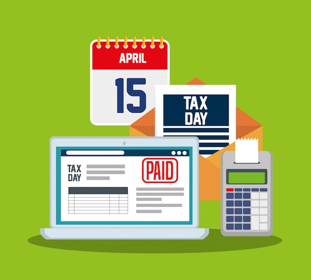 Dia fiscal 15 de abril. laptop com relatório de imposto sobre serviços e telefone de dados