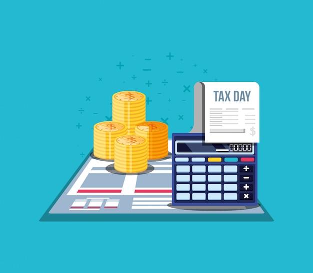 Dia fiscal com calculadora