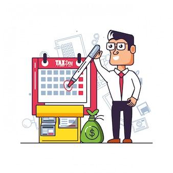 Dia fiscal com empresário e conjunto de ícones