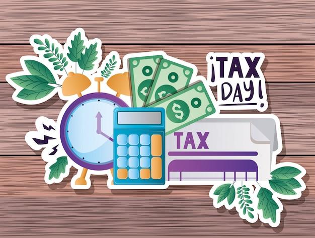 Dia fiscal documento calculadora relógio contas e folhas de desenho vetorial