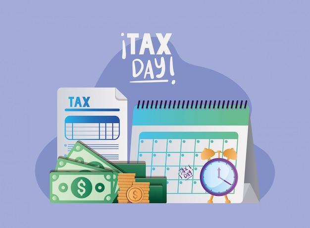 Dia fiscal documento calendário relógio contas e moedas vector design