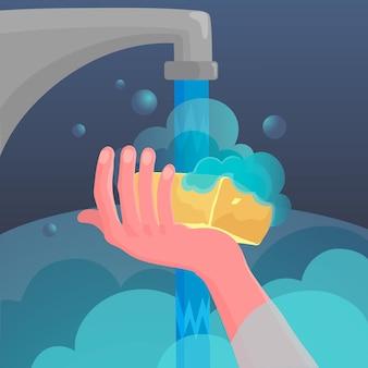 Dia global de lavagem das mãos com as mãos e torneira