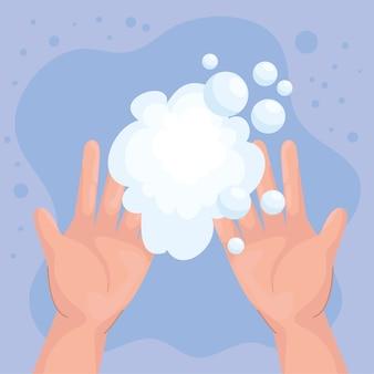 Dia global de lavagem das mãos com design de bolhas de sabão, higiene, lavagem, saúde e limpeza