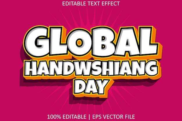 Dia global de lavagem das mãos com efeito de texto editável de estilo moderno