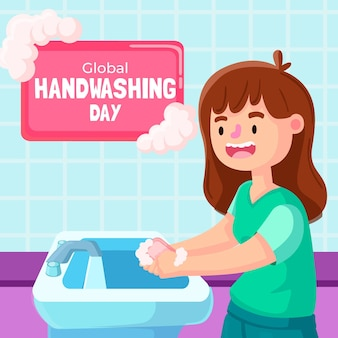 Dia global de lavagem das mãos com menina