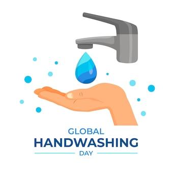 Dia global de lavagem das mãos com torneira e mão