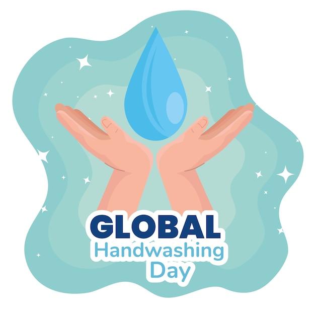 Dia global de lavagem das mãos e design de gotas, higiene, lavagem, saúde e limpeza