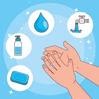 Dia global de lavagem das mãos e mãos com cenografia de ícones, higiene, lavagem, saúde e limpeza