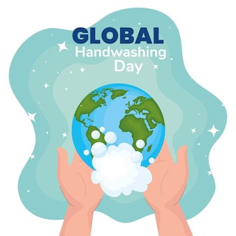 Dia global de lavagem de mãos e mãos com design mundial e bolhas, higiene lavagem, saúde e limpeza