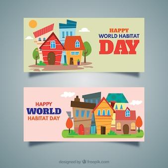 Dia habitat mundo bandeiras modernos com casas