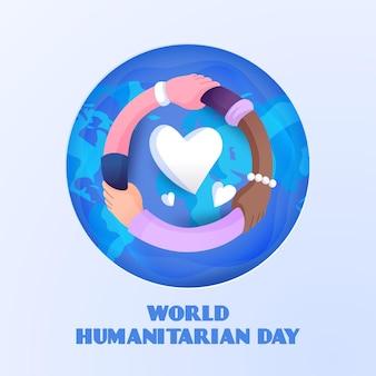 Dia humanitário desenhado de mão com coração