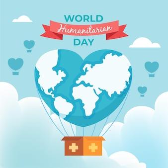 Dia humanitário mundial com planeta em forma de coração