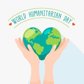 Dia humanitário mundial com terra em forma de coração