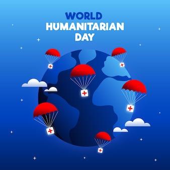 Dia humanitário mundial de fundo de mão desenhada
