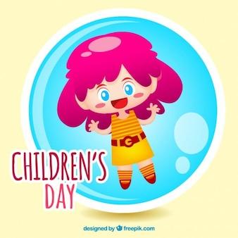Dia ilustração menina das crianças engraçadas