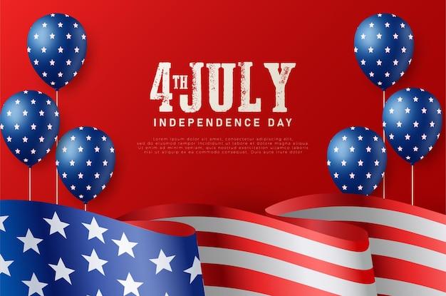 Dia independente de 4 de julho com a bandeira americana e balões voando.